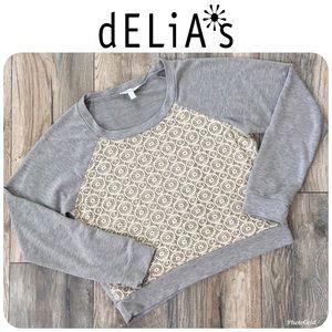 DELIA'S Crop Long Sleeve Top Sz L Originally $69!